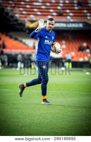 VALENCIA, SPAIN - FEBRUARY 21: Jaume Domenech during UEFA Europa League match between Valencia CF and Celtic FC at Mestalla Stadium on February 21, 2019 in Valencia, Spain