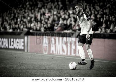 VALENCIA, SPAIN - FEBRUARY 21: Jeremy Toljan during UEFA Europa League match between Valencia CF and Celtic FC at Mestalla Stadium on February 21, 2019 in Valencia, Spain