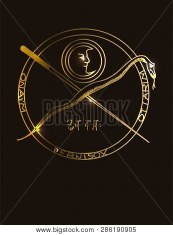 Illustration Of A Golden Occult Symbol With Magical Inscriptions And Signs On A Black Background. Ve