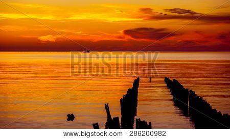 Seiner On A Black Sea, Beautiful Sunset, Poti, Georgia