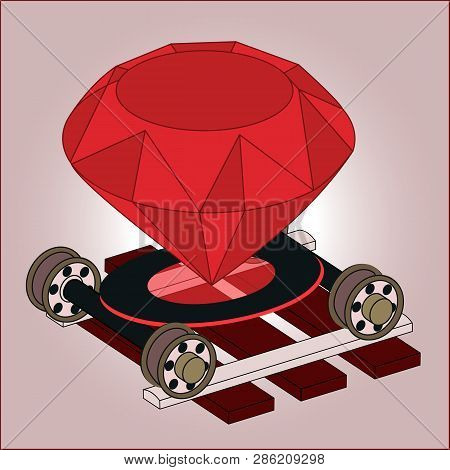 Ruby On Rails Full Color Isometric 3d Art. Real Jewel Gem On Wheel Pairs On Ties. Programming Langua