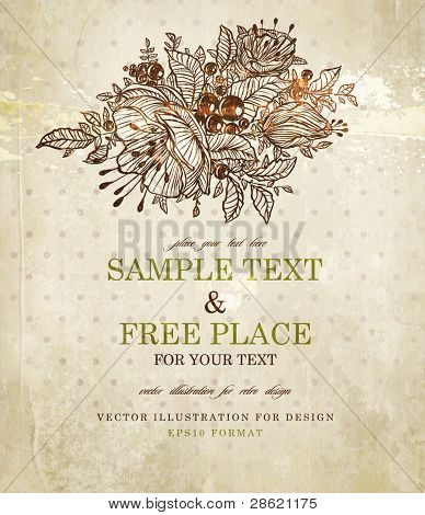 scrapbook-style retro background or greeting card with stained paper and flowers