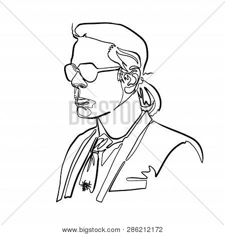 Sketch Of Karl Lagerfeld Like Head, Minimalist Continuous Line Drawing