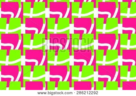 Colorful Maze Pattern In Trendy Plastic Pink, Ufo Green And White Colors. Original Intricacy Geometr