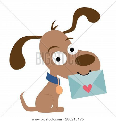 Vector Cute Pen Pal Dog with Envelope Illustration poster