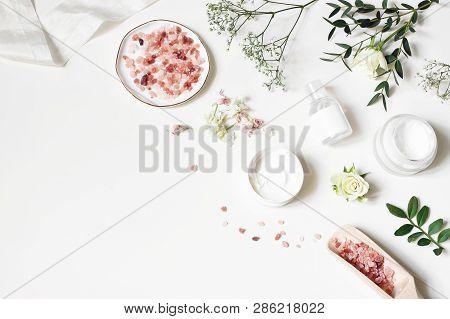 Styled Beauty Corner, Web Banner. Skin Cream, Tonicum Bottle, Dry Flowers, Leaves, Rose And Himalaya