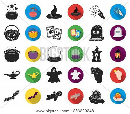 Black, Flat And White Magic Black, Flat Icons In Set Collection For Design. Attributes And Sorceress