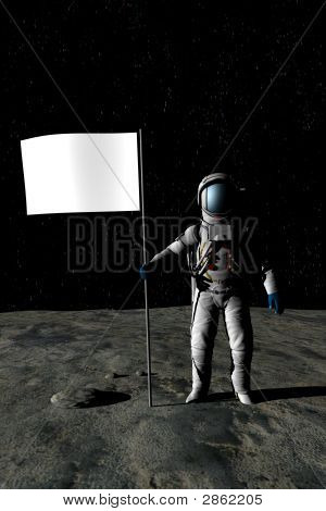 Astronaut On The Moon With Flag