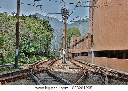 Hong Kong Light Rail Sytem At Siu Hong 2017