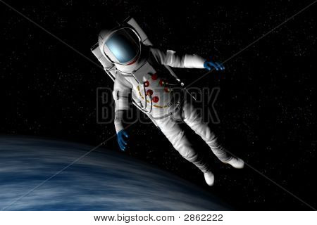 Astronaut Floats Above The Earth