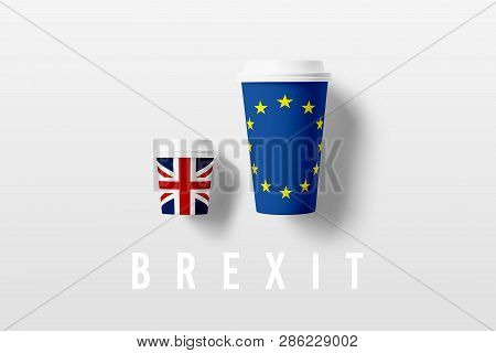 Two Glasses With The Flags Of The European Union And The Uk: The Bad Consequences Of The Uk Exit Fro