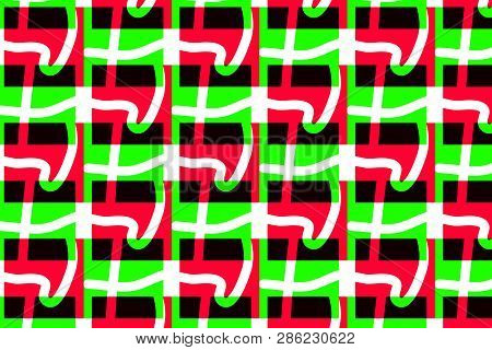 Colorful Maze Pattern In Pink, Black, White And Green Colors. Original Intricacy Geometric Pattern.