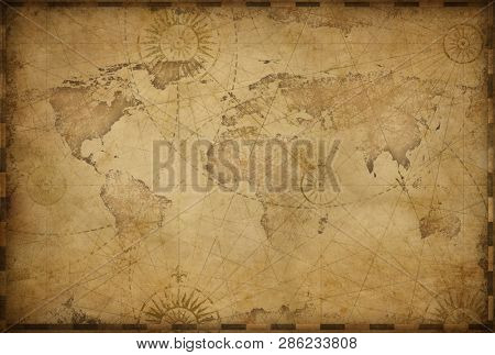Vintage old world map illustration based on image furnished by NASA