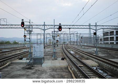 Railway Tracks At Asahikawa Station Hokkaido