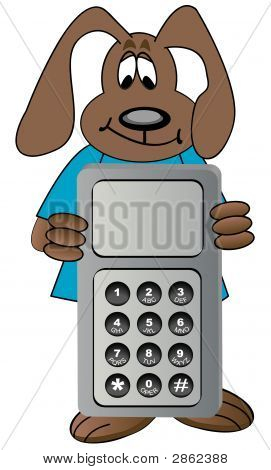 Chien Cartoon Holding Cell Phone