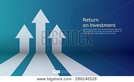 poster of business arrow target direction concept to success. Finance growth vision stretching rising up. banner flat style vector illustration. Return on investment ROI. chart increase profit.