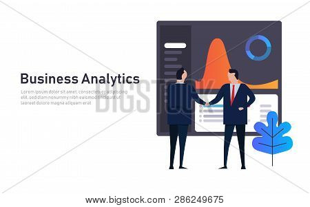 Analytics Business Data Dashboard Financial Performance Abstract. Employee Manager Handshake. Futuri
