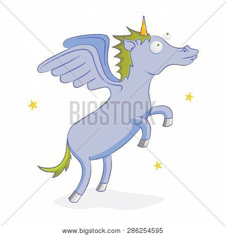 Illustration Of A Happy Purple Flying Unicorn