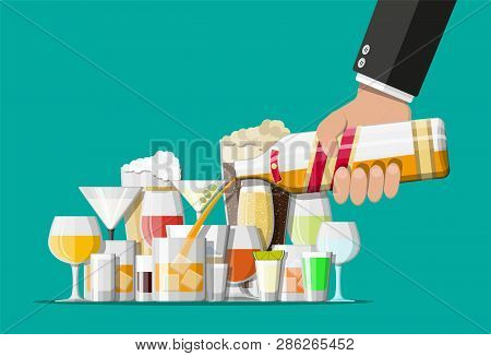 Alcohol Drinks Collection In Glasses. Vodka Champagne Wine Whiskey Beer Brandy Tequila Cognac Liquor