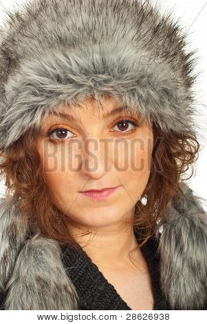 Close Up Of Redhead In Fur Hat