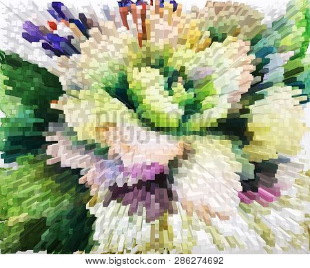Color Extrusion Floral Background, Bright Color Abstractions, Extrusion Blocks And Pyramids. Abstrac