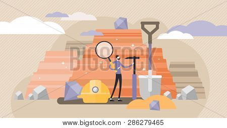 Geology Vector Illustration. Flat Tiny Soil Science Industry Persons Concept. Earth Mineral Rock Exp