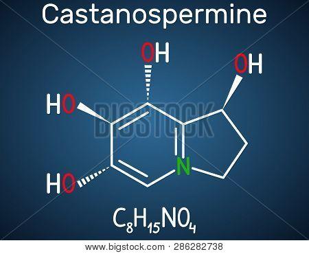 Castanospermine Indolizidine Alkaloid Molecule. Structural Chemical Formula On The Dark Blue Backgro