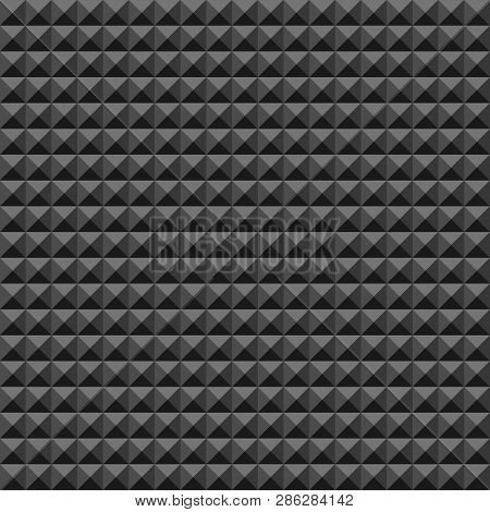 Acoustic Foam Rubber Wall Pattern, Dark Seamless Background With Pyramid And Triangle Texture For So