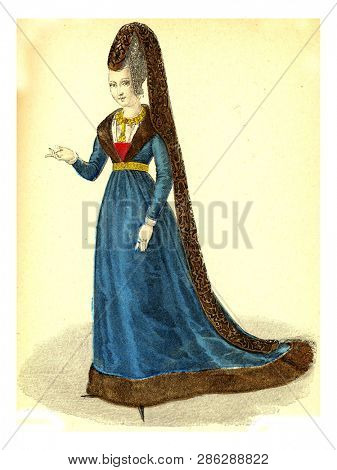 Agnes Sorel, vintage engraved illustration. 12th to 18th century Fashion By Image