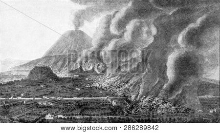 Houses and plantations destroyed by a torrent of lava descending from Vesuvius, vintage engraved illustration. From the Universe and Humanity, 1910.
