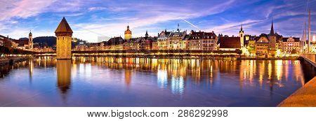 Luzern Kapelbrucke And Riverfront Architecture Famous Swiss Landmarks Panoramic View, Famous Landmar