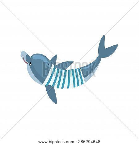 Dolphin Swimming Waring Nautical Frock, Cartoon Sea Animal Character Vector Illustration
