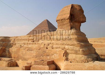 Cairo Giza Sphinx and Khafra's pyramid