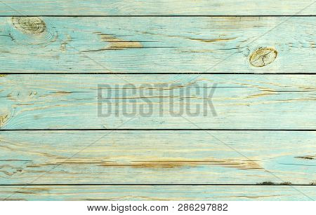Wood Blue Planks Texture Background. Wooden Striped Surface Of Blue Color, Texture Or Background. Bl