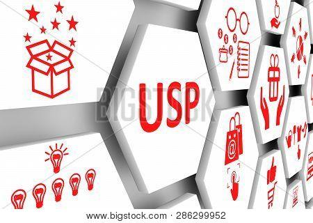 USP concept cell background 3d render illustration poster