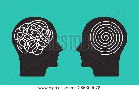 Two Heads Of A Person With The Opposite Mindset. Concept Of Chaos And Order In Thoughts. Flat Vector