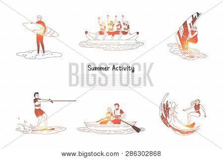 Summer Activity - People Doing Water Activities Surfing, Water Skiing, Sailing, Riding Banana And Bo