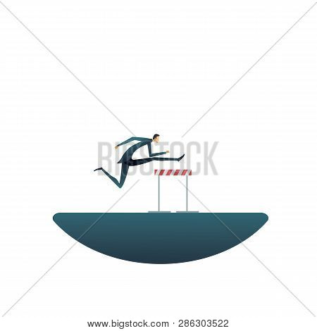 Overcome Challenges In Business Vector Concept. Businessman Jumping Over Hurdles Or Obstacles. Symbo