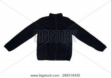 Black Warm Sweatshirt Isolated On White Background