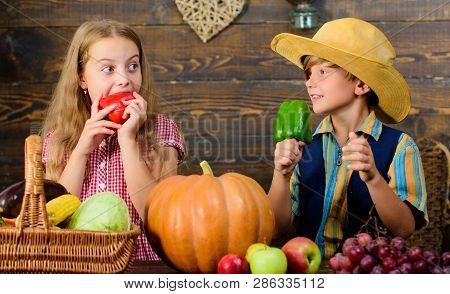 Children presenting farm harvest wooden background. Farm market. Farming teaches kids where their food comes from. Kids farmers girl boy vegetables harvest. Family farm. Siblings having fun poster