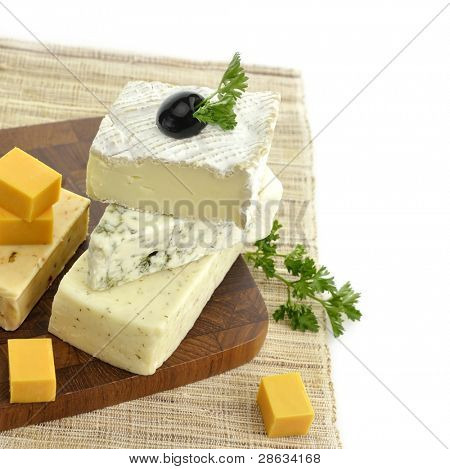 Assortment of Cheese On A Cutting Board poster