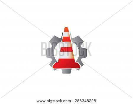 Traffic Cone In Under Construction Signal Warning Inside Gear Pinion For Logo Design