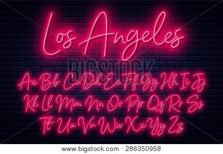 Glowing Neon Script Alphabet. Neon Font With Uppercase And Lowercase Letters. Handwritten English Al