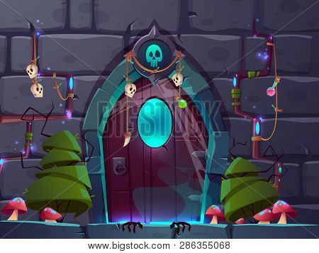 Magical Entrance Or Portal In Fantasy World Cartoon Vector. Mystic Amulets And Potions Hanging On Wo