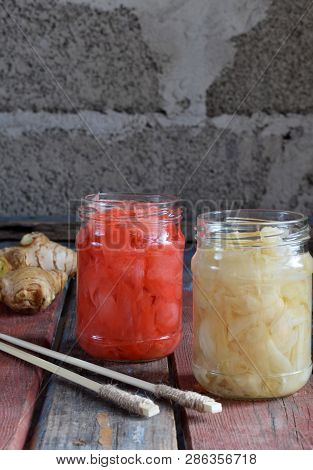 Pickled Ginger Slices And Wooden Chopsticks. Ingredient For Sushi. Healthy Food. Traditional Japanes
