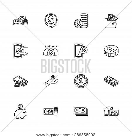Currency And Money Outline Icons Set - Black Symbol On White Background. Currency And Money Simple I