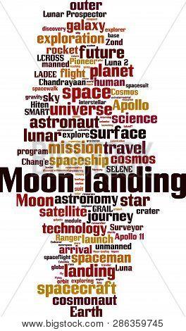 Moon Landing Word Cloud Concept. Vector Illustration On White