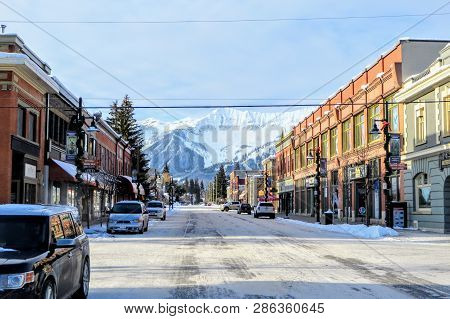 Fernie, British Columbia, Canada - February 24th, 2019: A View Down The Streets Of Downtown Fernie,
