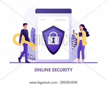Online Security - People Protecting Computer Data. Data Protection Concept For Web Page, Banner, Pre