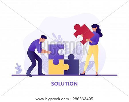 Solution. People Fitting Together Pieces Of A Jigsaw Puzzle. Cooperation And Teamwork, Solutions And